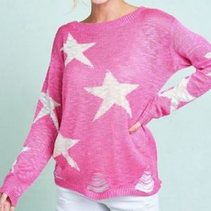Sweaters - Destroyed Hem Pink Star Sweater
